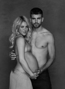 Shakira und Piqué kurz vor der Geburt ihres Sohnes Milan in einem Fotoshooting für Unicef