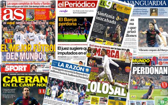 Titelseiten der Presse nach dem Clásico