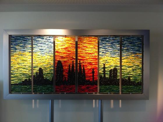 Berlin und Barcelona in einem Kunstwerk vereint. Die Bildabschnitte lassen sich nach Belieben drehen.