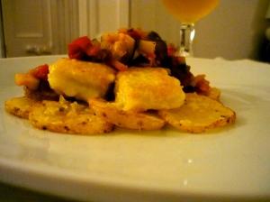 Bacallà amb samfaina i patates - Stockfisch mit Samfaina und Kartoffeln